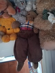 My poor 70 year old teddy having to hold up those other bears (daveandlyn1) Tags: teddybears toy rupert bearcollection pralx1 p8lite2017 huawei smartphone digitalcameras psdigitalcamera cameraphone indoors 70yearsold