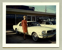 1966 Ford Mustang (Vintage Cars & People) Tags: vintage classic photo foto photography automobile car cars ford mustang stang ponycar motor vehicle antique auto 1967 1960s sixties fashion girl woman lady femalesuit ladyssuit blonde pumps heels notchback hardtop coupé dealership showroom sale campaign whitewalltyres whitesidewalltires whitewalls