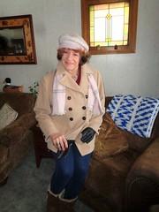 Laurette In Winter Plumage (Laurette Victoria) Tags: leggings coat scarf hat gloves laurette woman auburn