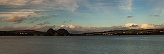 Dumbarton Rock in Low Light (Brian Travelling) Tags: scotland dumbartonrock dumbartoncastle riverclyde bluesky clouds lowlight photography lightroom photoshop adobe water river panoramic pano panorama pentax k20d