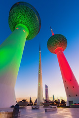 Kuwait Towers at evening (hsadura) Tags: arab arabianpeninsula asia capitalcity europe kuwait kuwaitcity kuwaittowers middleeast persiangulf town architecture blue building city cityscape dawn dome downtown dusk evening illuminated landmark landscape night outdoors panorama sky skyline sphere street sunrise sunset tower travel twilight watertank