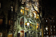 Admit it, you wanted a night shot of this! (Fnikos) Tags: street building architecture decor decoration column dark darkness lamp light tree wall window balcony modernismo casabatlló gaudí nature night nightview nightshot outdoor