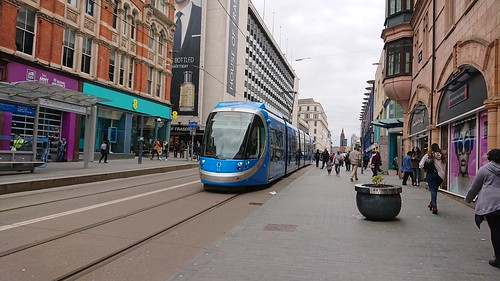 West Midlands Metro tram 31 on Corporation Street passing the House of Fraser