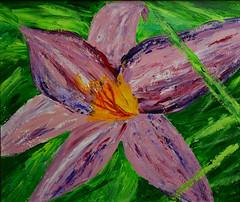 Summer Lily (BKHagar *Kim*) Tags: bkhagar art artwork painting paint acrylic cardboard thriftstoreframe frame green floral momdadsyard yard