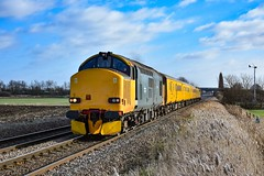 37610 + 37175 - Tufts - 09/02/19. (TRphotography04) Tags: hn rail on hire colas br small logo 37610 freight 37175 rumble past tufts crossing march hauling 1q86 1006 down rs derby rtcnetwork test train via peterborough lincoln doncaster