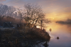 Any day ? (Maurizio Fecchio) Tags: morning sunrise nature landscape lights fog trees water river fisherman reflections paesaggio nikon d7100 winter