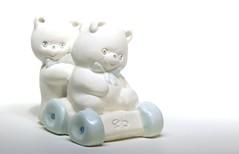 bear car driving (HansHolt) Tags: bear bears eb car wheels white blue figurine tabletop macro canoneos6d canonef100mmf28macrousm flickrlounge saturdaytheme