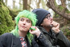 Father and Daughter in thought (Evoljo) Tags: puzzelwood gloucestershire coleford father daughter green hat glasses trees nikon d500