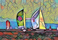 Sailboat Sketch Pattern (Vern Krutein) Tags: sailboat paintography sailing sports boat sail maritime nautical water waves salv02p1215