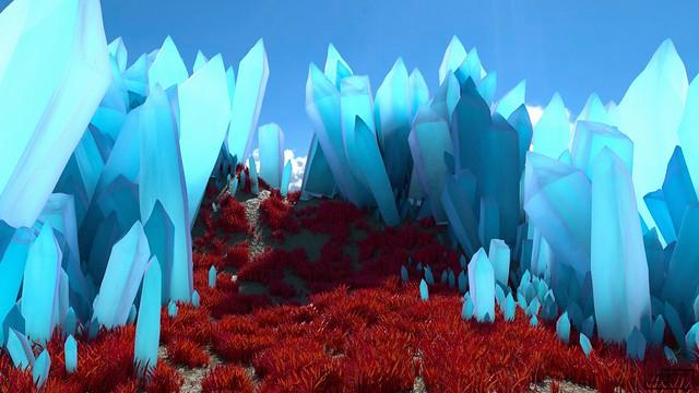 Обои кристаллы, долина, трава, 3д, голубой картинки на рабочий стол, фото скачать бесплатно