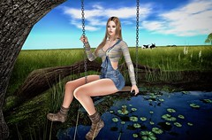 Floating (Trixie Pinelli) Tags: blueberry mainstorerelease eudora3d tableauvivant collabor88 c88 cnz springswing missingmelody farm cowgirl mesh bento maitreya lelutka piper apparel fashion clothing shopping outfit boots footwear shoes hair hairstyle hairdressing fields lumipro photography photographer model modelling blogger blonde secondlife sl pond glamaffair