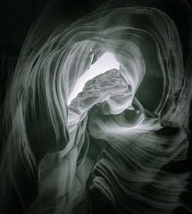 Sandstone Chimney  - Toned B&W (byron bauer) Tags: byronbauer blackwhite duotone navajo sandstone slot canyon wall page arizona texture rock wind water erosion sediment filtered light american southwest aoi elitegalleryaoi bestcapturesaoi