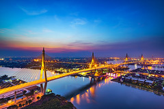 Bhumibol bridge at sunset (Patrick Foto ;)) Tags: architecture asia bangkok beautiful beauty bhumibol blue bridge building chao city cityscape commerce connect connection design detail dusk high industrial landmark landscape modern nature night panorama phraya reflection ring river road scenic sky skyline sunrise sunset thai thailand transport transportation travel twilight urban view water krungthepmahanakhon th