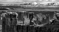 Monochrome Monument Basin (Squirrel Girl cbk) Tags: 2019 bw canyonlandsnationalpark lasalmountains march monumentbasin organrockshale permian utah whiterimroad whiterimsandstone wingatesandstone monochrome
