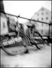 435 Holga ORWO 05 (rubbernglue) Tags: holga uppsala expiredfilm hc110 homedeveloped flash 2018 december analog analogexif artistic filmphotography filmexif bw blackandwhite bwfp bicycle cykel orwo np22 sverige sweden