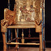 King Tut's golden throne chair with images of the king with his queen Ankhesenamun 18th dynasty New Kingdom Egypt