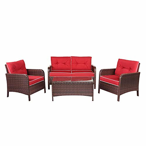 TANGKULA 4 PCS Patio Furniture Outdoor Rattan Wicker Sofa Comfortable Cushioned Seat Garden Lawn Sectional Conversation Set with Glass Top Coffee Table (red Cushion) Review
