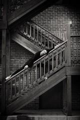 "Dance a little dream... (Ryan Closson) Tags: ""whiskeyrow"" prescott arizona ""ryanclossonphotography"" ""arizonamodel"" ""arizonaphotographer"" stairs balet black blackandwhite blackhair dance dancer girl movement outside portrait pretty"