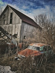 ruin and rust.... (BillsExplorations) Tags: rust ruin decay ruraldecay abandoned forgotten abandonedfarm abandonedillinois car oldcar vintagecar rustycar barn farm weathered