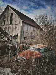 ruin and rust.... (BillsExplorations) Tags: rust ruin decay ruraldecay abandoned forgotten abandonedfarm abandonedillinois car oldcar vintagecar rustycar barn farm weathered