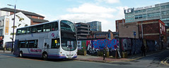 UK - Manchester bus (onewayticket) Tags: bus transport urban first firstgroup volvo b9tl volvob9tl wright eclipsegemini graffiti art wallart wrighteclipsegemini mx58eaa street