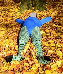 Autumn - pantyhose and leotard (wetmuddy) Tags: outdoor fun forest autumn herbst wald leotard unitard pantyhose gymanstik gymnastikanzug lycra spandex medias strumpfhose tights leggings legs gymnastics gimnasia