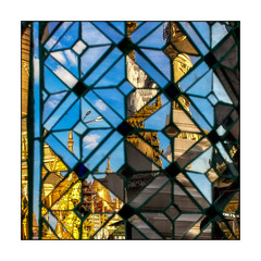 the world is a mirror (Armin Fuchs) Tags: arminfuchs yangon myanmar shwedagonpagoda reflection mirror column sky blue gold diagonal buddhism clouds kaleidoskop