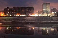 City lights reflecting on the river Kupa (malioli) Tags: night light river city town street urban kupa karlovac croatia europe hrvatska canon sky