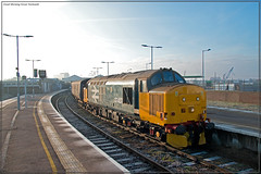 Good Morning Great Yarmouth (Resilient741) Tags: class 37 loco locomotive hauled passenger train trains diesel ee english electric great yarmouth seaside norfolk uk united kingdom 37407 37403 isle mull blackpool tower br british rail railway railways railroad railroads glint shot photo photography