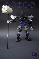 Toa Baros (Harding Co.) Tags: bionicle lego figure toa gravity kanohi mask action ccbs hammer weapon pekhui feet hands black grey silver purple blue eyes
