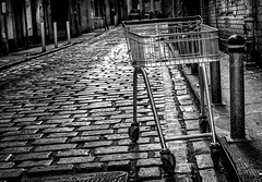 Lost. (Mister G.C.) Tags: blackandwhite bw sonya6000 sonyalpha6000 mirrorless streetphotography urbanphotography candid street monochrome photograph image object shoppingtrolley shoppingcart cart trolley abandoned dumped sidestreet alleyway alley gritty urban town city sony a6000 35mmf18 sel35f18 35mm primelens schwarzweiss strassenfotografie glasgow scotland europe