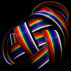 tangle (amazingstoker) Tags: ribbon cable rainbow tangle wire knotted twisted macro colour shine brown red orange yellow green blue violet grey white black knot