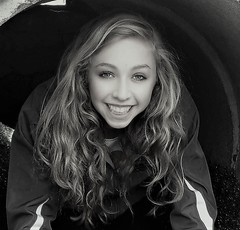 Allie in Tunnel (Scott RS) Tags: portrait blackwhite bw cellpic lady woman youngwoman girl smile eyes hair pretty gorgeous stunning engaging teeth sking blonde eyebrows tender delicate smooth sweet skin fair spring fun friend joy happy gentle funny playful