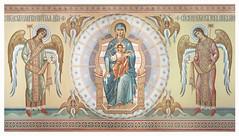 Богородица на престоле в окружении небесного воинства