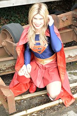 Just checking out this old wreckage to see if there's any evidence of cause by any super villains (Miss Nina Jay) Tags: cosplay supergirl boots