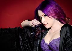 Masque - Becki (FightGuy Photography) Tags: pick purplehair purple lingerie mask masque beautiful woman portrait face longhair coloredhair studiophotography becki hands
