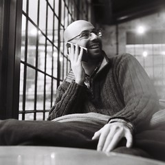 blurred On (zuzi_ki) Tags: flexaretiv fomapan iso400 blackwhite 1person man cafe smile relaxed analogue blurry