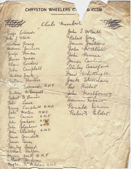 Chryston Wheelers Cycling Club Membership, 1945. (Paris-Roubaix) Tags: chryston wheelers cycling club minutes from first meeting alex hendry george edwards