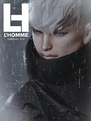 L'Homme Cover -February 2019 (Skip Staheli *11 YEARS SL PHOTOGRAPHY*) Tags: cover gabriel takuyajinn hikaruenimo skipstaheli secondlife sl lhomme magazine fashion portrait photography rain closeup