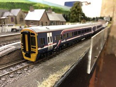 Class 158 (Callum's Buses and Stuff) Tags: newcastleton soltire livery class scotrail firstscotrail first station track oo 158 class158 bachmann