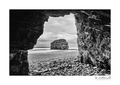 Marsden Rock (Jo McD) Tags: marsdenbeach marsdenrock marsden beach pebbles rock coast sea cave tyneandwear northeast blackandwhite seascape