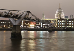 Millenium Bridge (Raphooey) Tags: gb uk england south east southeast london capital city river thames wave waves water millenium bridge suspensionbuilding buildings st pauls cathedral office offices night evening cloud clouds cloudy canon eos 6d mark mk ii 2