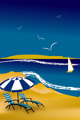 illustrtaion of a beach scene with yellow and blue (illustrationvintage) Tags: summer sea water nature ocean beauty coast island beautiful girl bikini relax sun happy hot coastline outdoors lifestyle pacific tourism waves female body holiday woman paradise outdoor sunny sand relaxation tropical vacation blue sky travel beach boat tanning shore people sunshine swimwear tan summertime holidays tanned leisure resort enjoying sunbathing