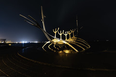 Solfar (pugwash00) Tags: iceland reykjavik harbour sea night winter sculpture northernlights auroraborealis solfar sunvoyager longexposure wideangle sony a7iii samyang rokinon 14mmf28 rain reflection
