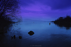 Nightfall (Rollingstone1) Tags: nightfall night nighttime dark sky water gloom blue colour balloch scotland trees buoy art artwork