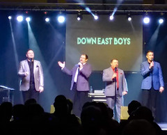 Live Performance Of The Down East Boys. (dccradio) Tags: myrtlebeach sc southcarolina horrycounty inside indoor indoors crownreef crownreefresort crownreefconferencecenter downeastboys concert quartet southerngospel livemusic mic microphone micstand microphonestand screen words text suits men man lights stage concertstage illuminatedlights music singing sing southerngospelsing conference retreat joyretreat samsung galaxy smj727v j7v cellphone cellphonepicture february morning winter goodmorning tuesday tuesdaymorning