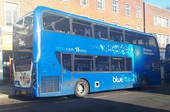 Bluestar 1638 is resting at the Hanover Buildings bus stop before loading up and leaving on route 1 to Winchester via Chandler's Ford and Otterbourne. - HF66 CFJ - 9th January 2019 (Aaron Rhys Knight) Tags: bluestar 1638 hf66cfj 2019 hanoverbuildings southampton hampshire gosouthcoast goahead alexanderdennis enviro400mmc