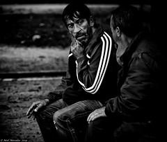 Health care for the homeless. (Neil. Moralee) Tags: neilmoralee neilmoraleenikond7100 men two couple pair rough sleeper homeless street track suit goiter illness thyroid health care doctor poor poverty society dark dim black white bw bandw blackandwhite neil moralee nikon d7100 porto portugal who medecine healthcare man