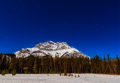 Autumn Stars over Cascade Mountain (Amazing Sky Photography) Tags: banffnationalpark cascademountain cassiopeia march moonlight perseus taurus nightscape snow stars