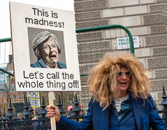 NOT Michael Heseltine (DobingDesign) Tags: streetphotography putittothepeoplemarch placard signage satire costume facialexpressions caricature london londonstreets parliamentsquare streetportrait text wig glasses